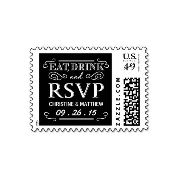Rustic Eat Drink Be Married (Chalkboard) RSVP Stamps - Luxury Wedding  Invites