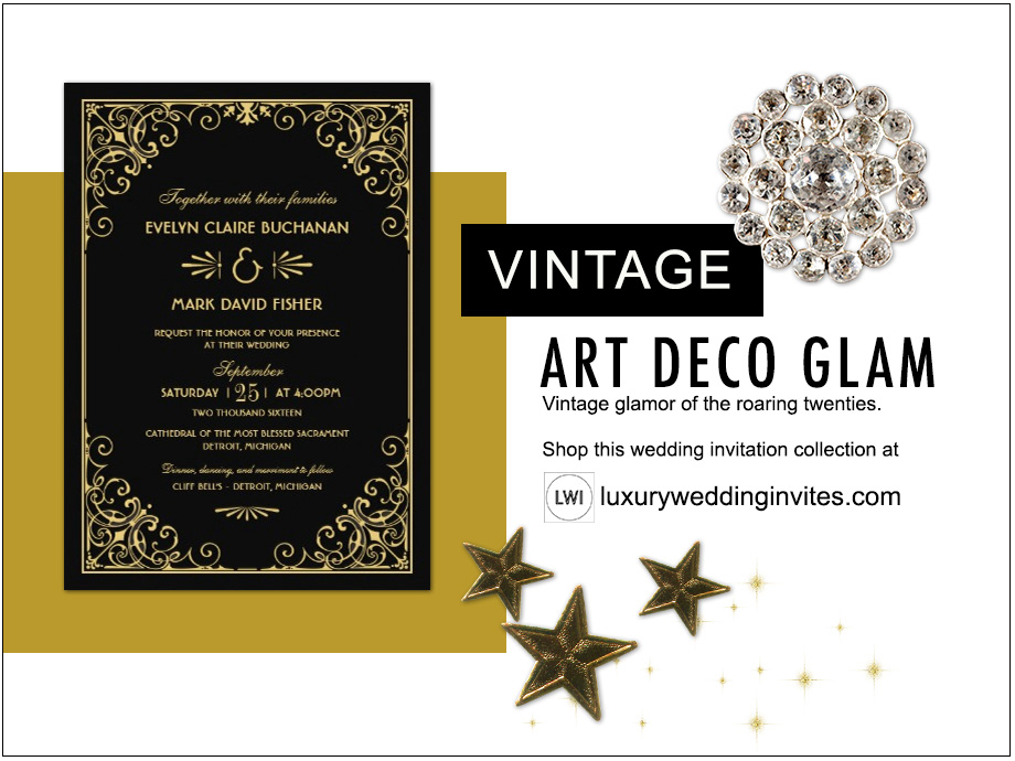 Vintage art deco glam wedding themes inspiration board with gold and black wedding invitation