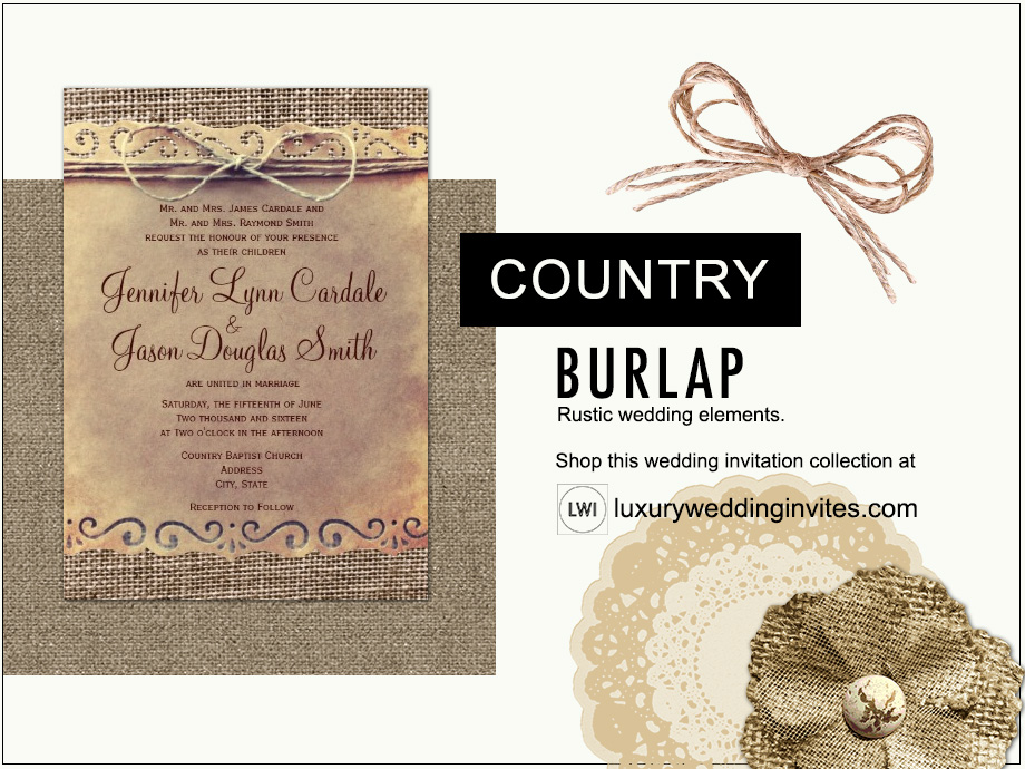 Burlap and twine rustic country wedding themes inspiration board