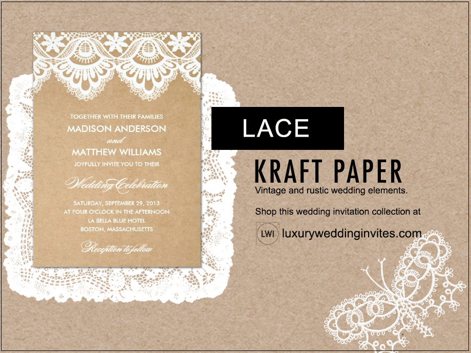 Kraft paper and lace rustic wedding themes inspiration board
