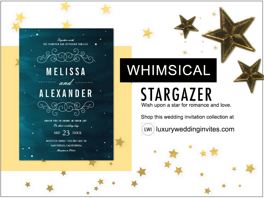 Stargazer whimsical wedding themes inspiration board with night sky blue and twinkling stars wedding invitation design
