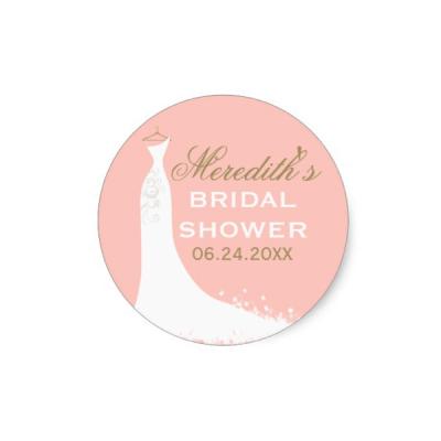 bridal gown pink gold bridal shower favor sticker