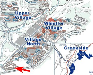 Whistler BC Map showing Montebello Vacation Rental by Owner