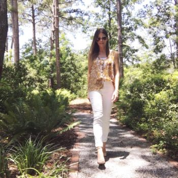 Body Suit Under Sheer Top with White Pilcro Jeans