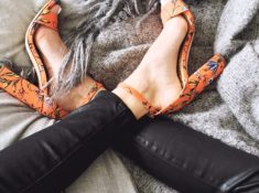 Bright Block Heel Sandals and Leather Skinnies