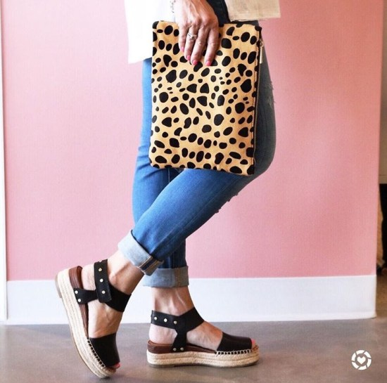Leopard Print Clutch and Black Espadrilles