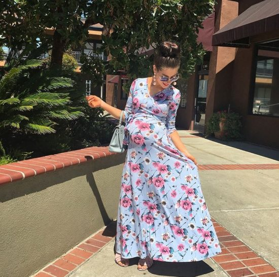 Floral Print Hippie Maternity Dress