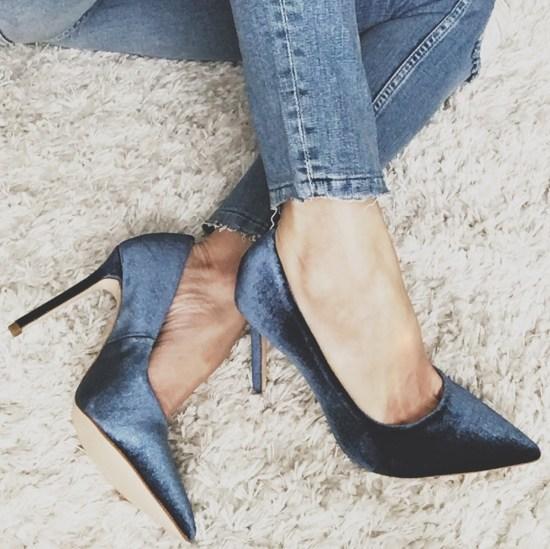 Zara Blue Velvet Pointed Toe Heels