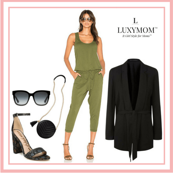 Cute Casual Outfits for Moms - LUXYMOM™ Blog Post - Green Jumpsuit Outfit