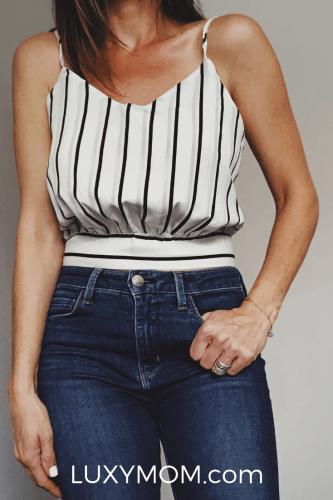 amazon striped cropped cami luxymom