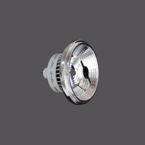 AR111 12W GU10 38°. Lámpara led tipo AR111 regulable. Casquillo GU10. Potencia 12W 650 lm. Temperatura de color del led 3000K. Grados de apertura de luz 38°. Duración aproximada 40.000 horas.