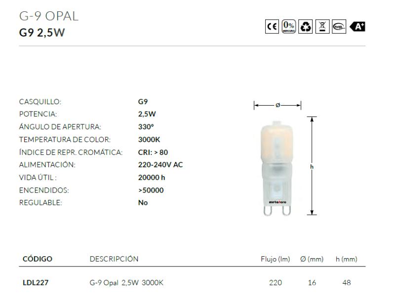g9 opal medidas