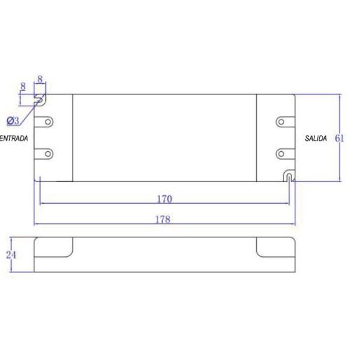 medidas driver 50W 24v dim