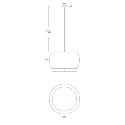 medidas Lámpara Poma 75cm Interior