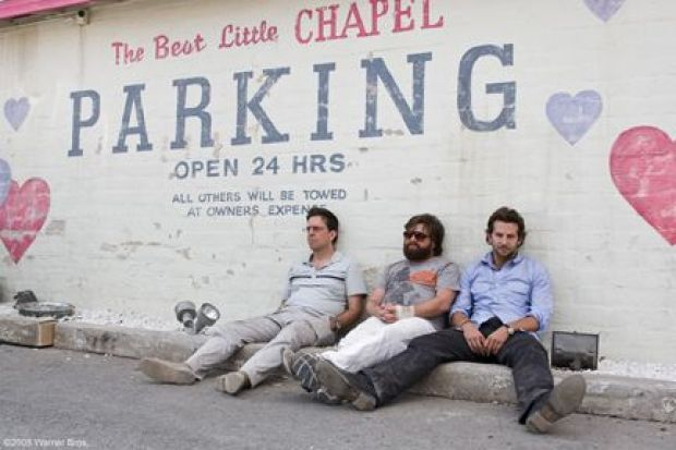 """(L-r) ED HELMS as Stu, ZACH GALIFIANAKIS as Alan and BRADLEY COOPER as Phil in Warner Bros. Pictures' and Legendary Pictures comedy """"The Hangover,"""" distributed by Warner Bros. Pictures. PHOTOGRAPHS TO BE USED SOLELY FOR ADVERTISING, PROMOTION, PUBLICITY OR REVIEWS OF THIS SPECIFIC MOTION PICTURE AND TO REMAIN THE PROPERTY OF THE STUDIO. NOT FOR SALE OR REDISTRIBUTION."""
