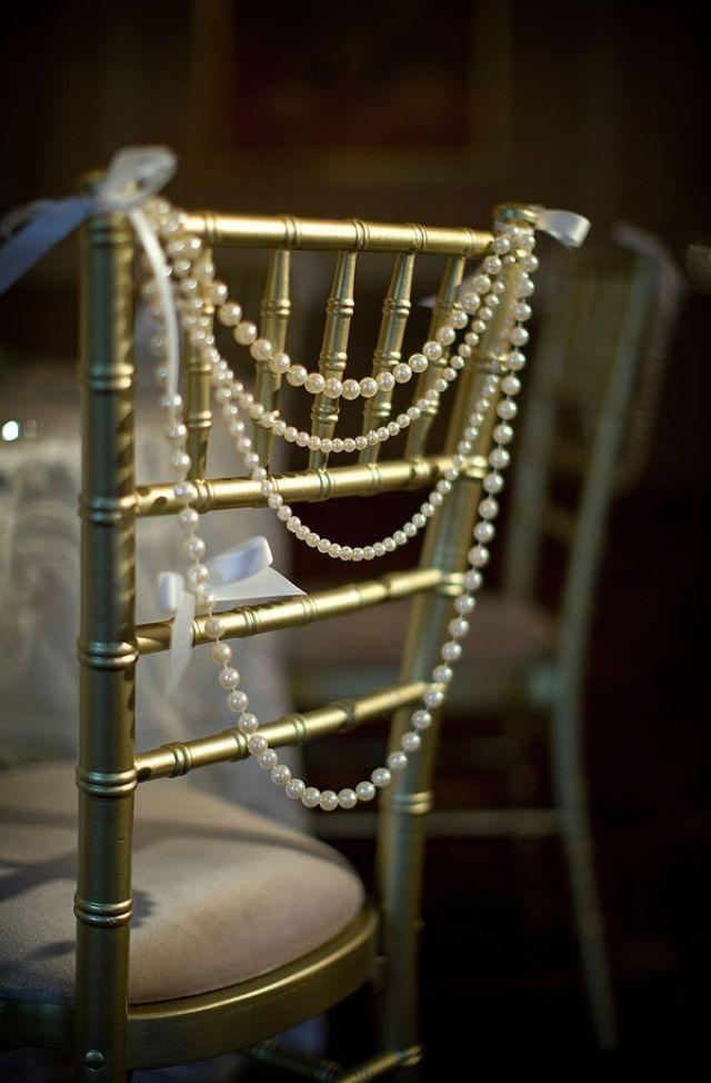 vintage-wedding-decor-ideas-pearls-decorate-chairs
