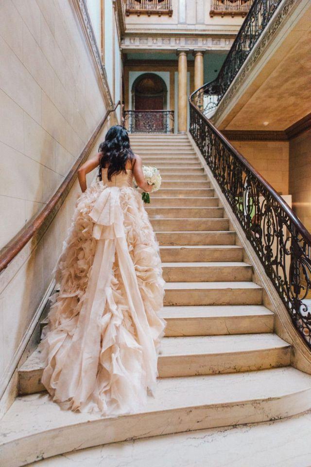 ruffled-blush-wedding-dress