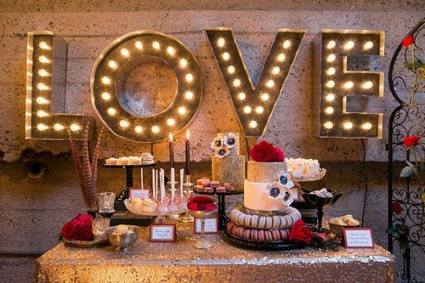 Parisian-Circus-Wedding-Luce-Loft-Reception-with-Gold-Sequins-Dessert-Table-and-Love-Marquee-Sign
