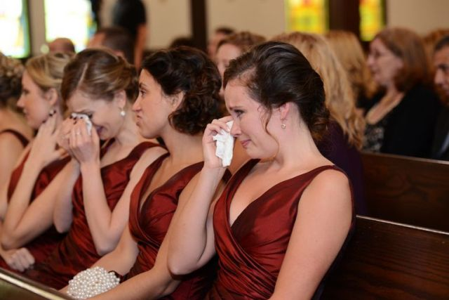 Rustic-Farm-Wedding-ceremony-crying-bridesmaids