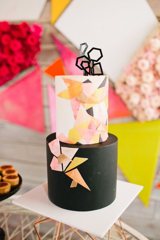 Black+and+colorful+geometric+cake