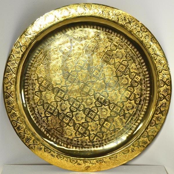 Vassoio dorato il t marocchino di ottone intagliato  Luz