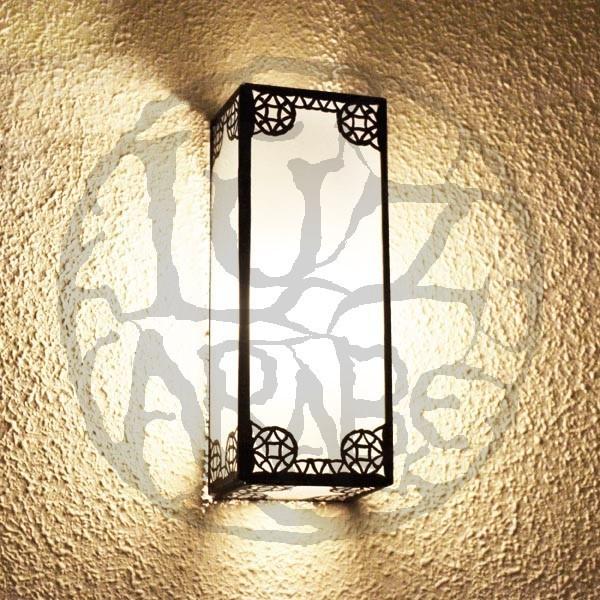 Acquista Applique da parete rettangolare di vetro bianco e ferro bronzato traforato 30 cm