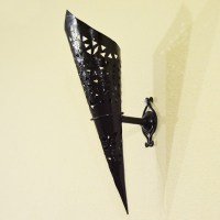 Buy Torch shape wall sconce of pierced iron 47 cm
