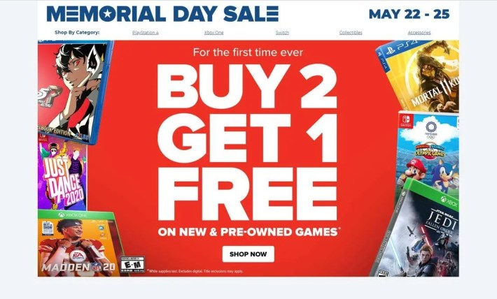 GameStop's memorial day sale