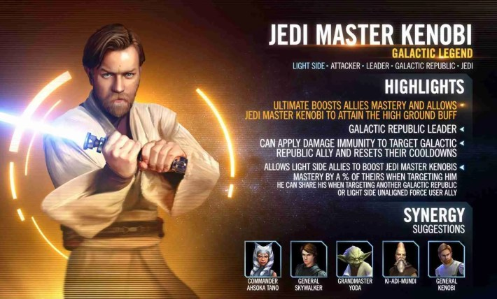 Obi-Wan Kenobi has come to Galaxy of Heroes