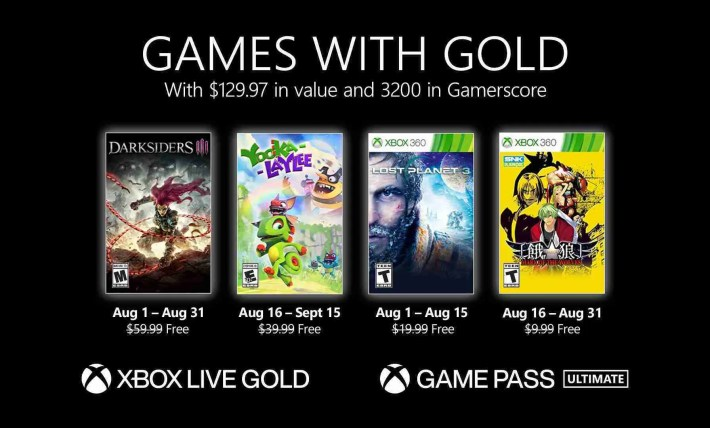 Games with Gold for August 2021