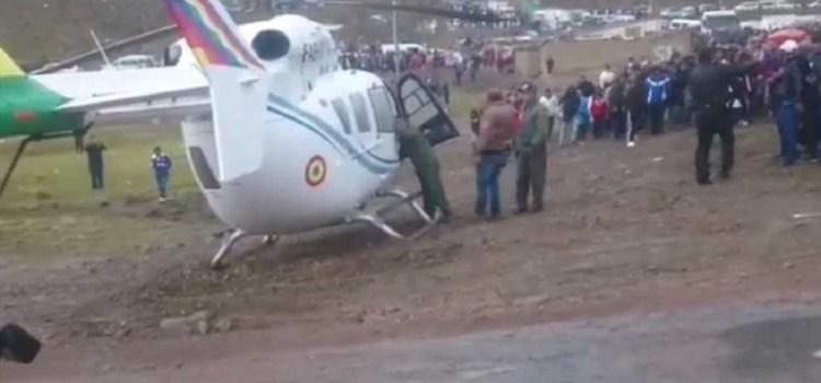 El helicóptero que trasladaba a Evo Morales en Bolivia tuvo que hacer un aterrizaje de emergencia