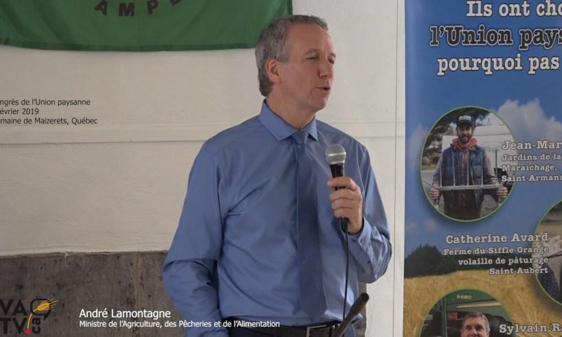 André Lamontagne au congrès de l'Union paysanne 2019