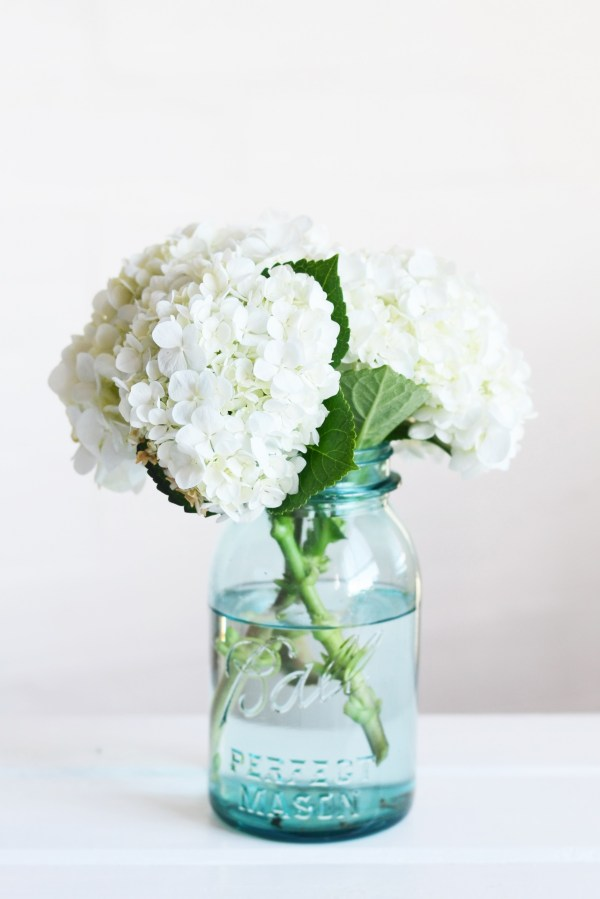 Blue Mason Jar Flowers