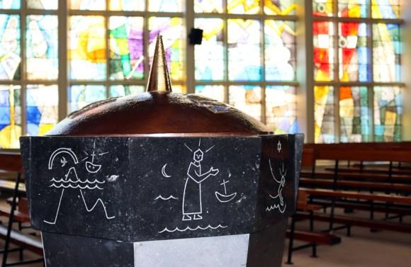 St Patrick's Church Murlog Donegal Baptismal Font © Lavender's Blue Stuart Blakley