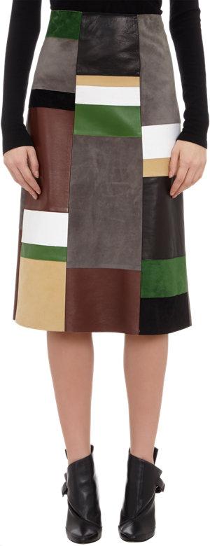 DEREK LAM Patchwork Leather Skirt $3590 now $1439