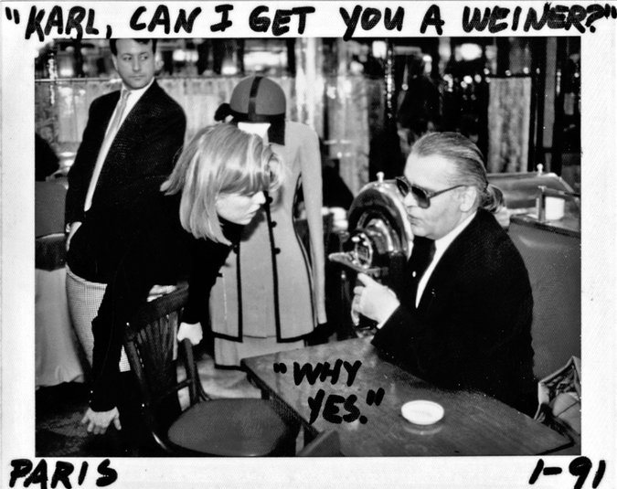 "Kate Betts with Karl Lagerfeld at the Café de Flore; photo and captions by Art Streiber. Credit From ""My Paris Dream."""