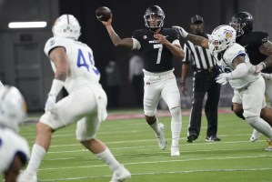Rebels lose double-digit lead, fall to Spartans 27-20