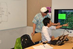 Mr. Van Tuan Bui (front) and Dr. Andy Phillips (back) discussing research design for a gibbon survey (photo © LVDI International)