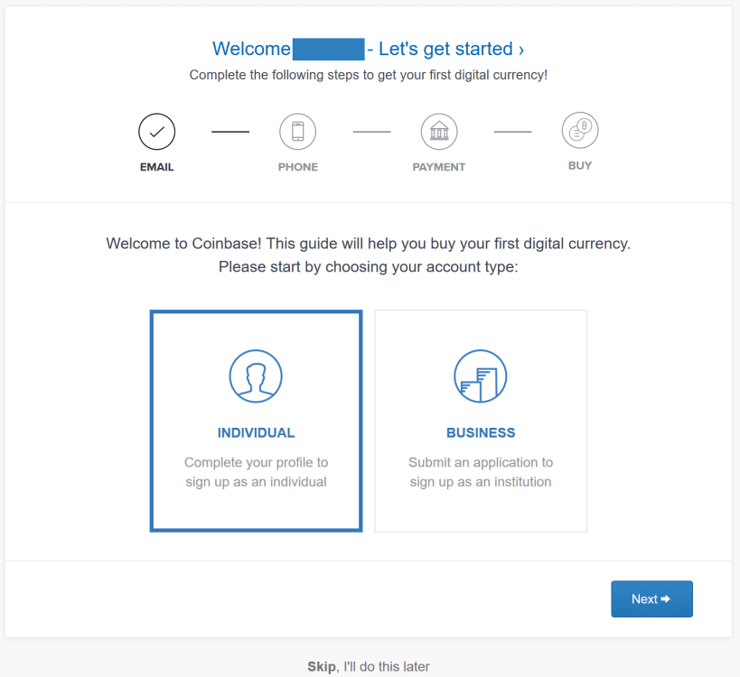 coinbase individual and business sign up