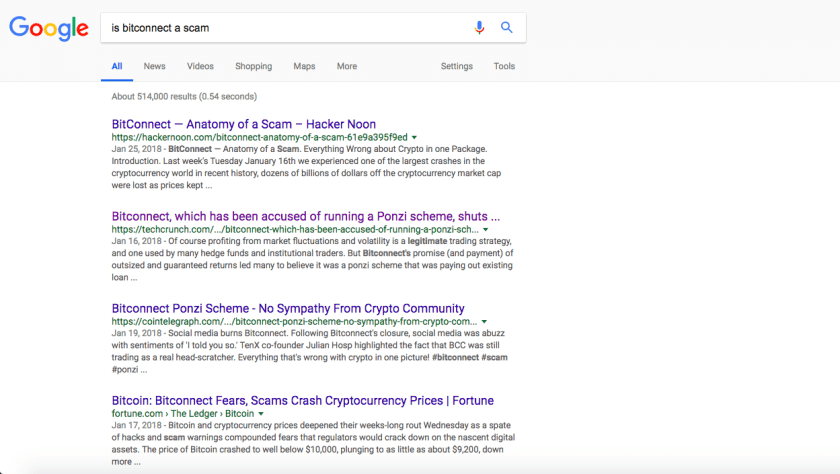 bitconnect scam google search