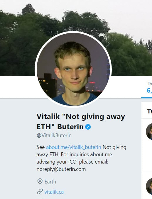 A screenshot of Vitalik Buterin's Twitter profile, stating that he is not giving way ETH.