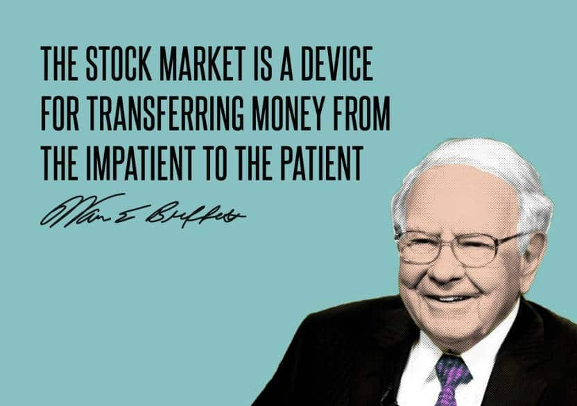 "An image of Warren Buffet and his quote: ""The stock market is a device for transferring money from the impatient to the patient."""