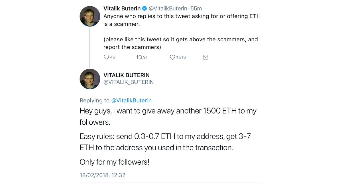 Vitalik Buterin advises Twitter followers not to send ETH to a unofficial account attempting to scam Buterin's followers.