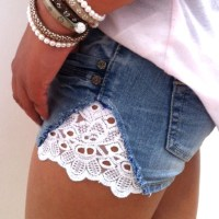 re-styled jeans shorts