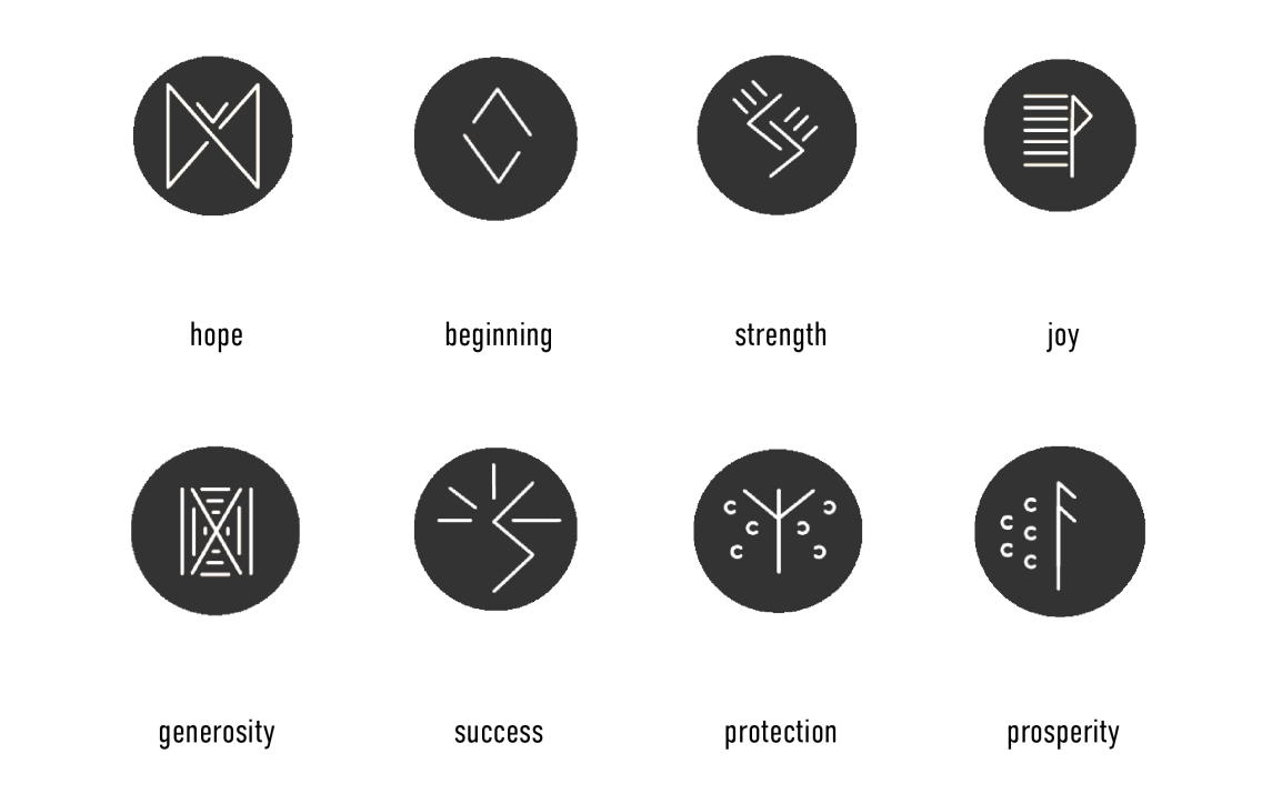 Images of building emblems which include icons for hope, beginning, strength, joy, generosity, success, protection, and prosperity.