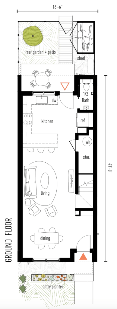 Ground floor plan of The Classic Townhome