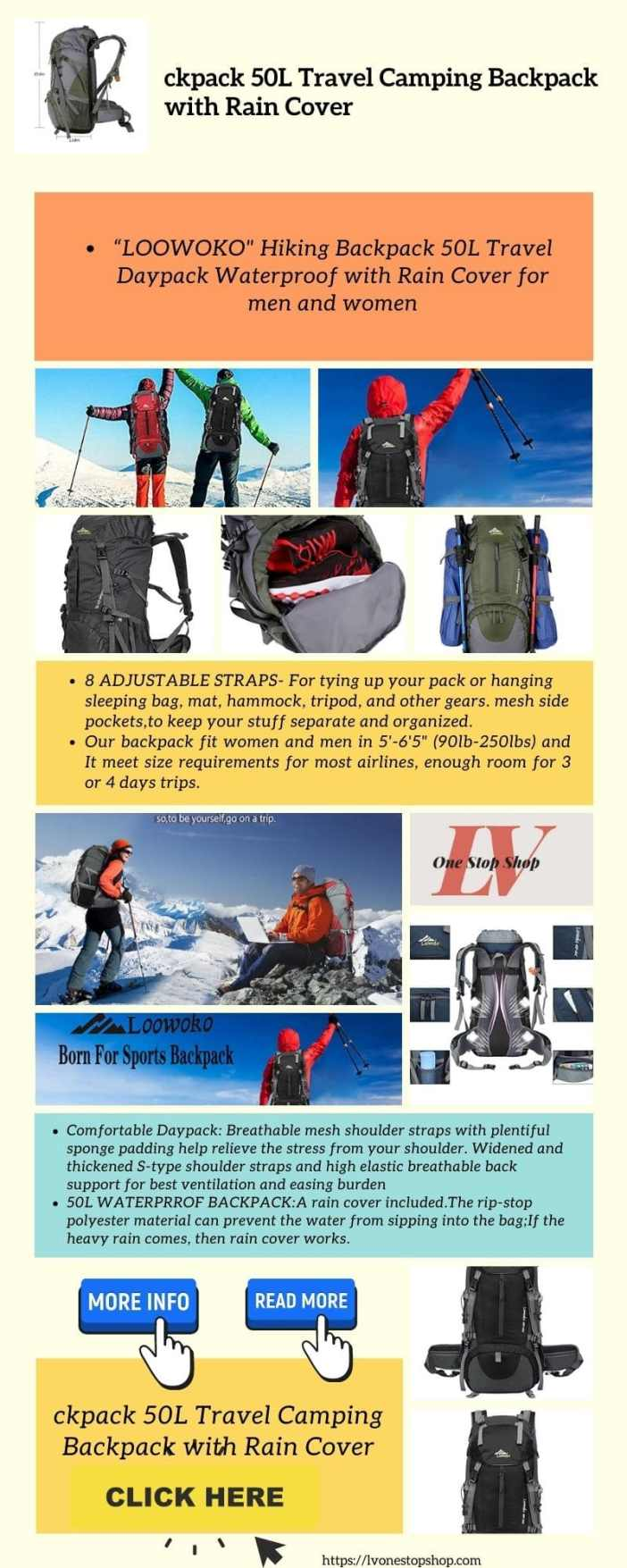 Loowoko Hiking Backpack 50L Travel Camping Backpack with Rain Cover info