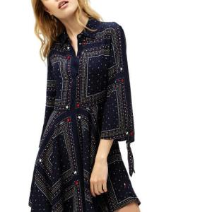 Šaty Tommy Hilfiger Asymmetric Printed Shirt Dress 471 4