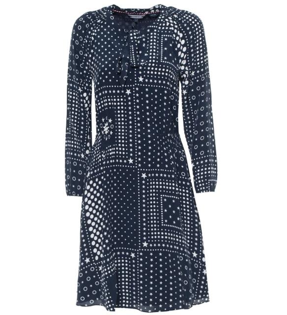 Hodvábne šaty Tommy Hilfiger Honor modré