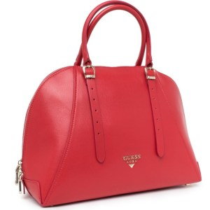 Kožená kabelka Guess Luxe červená